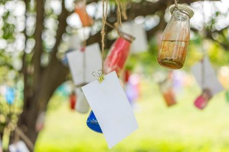 wishing: Wishing bottle hanging on a tree
