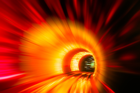 tunnel view: Train moving in Tunnel -Abstract View Stock Photo