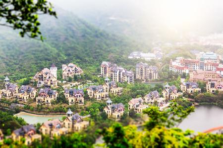 tilt views: China Shenzhen overseas Chinese town of mountain Villas