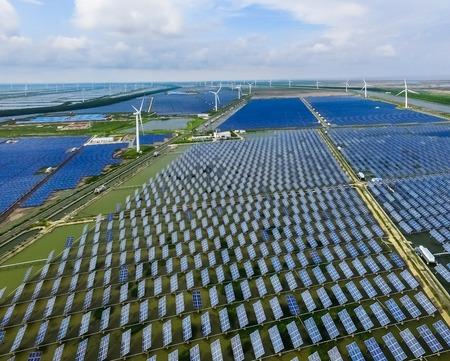 異なるエネルギー資源産業の風景。持続可能な開発。