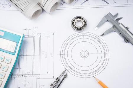 建設図面の青写真建築・建物コンセプト キャリパー軸受にスライドさせます。 写真素材