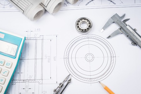 trammel: Construction drawings slide caliper roller bearings on blueprint architecture and building concept.