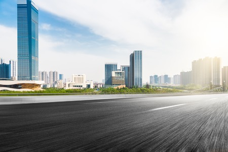 The city and the road in the modern office building background Banco de Imagens - 49064885