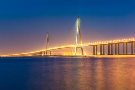 yangtze: modern bridge over the Yangtze River at sunset.