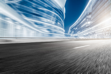The city and the road in the modern office building background Banco de Imagens - 49069016