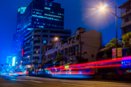 night traffic: night traffic lights inside of steel bridge