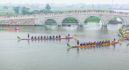 traditional sport: In June 11, 2013, a dragon boat race was underway in Jiangyin, Jiangsu Province, China. The dragon boat race is a traditional sport in China, which is generally held in the Chinese lunar calendar.