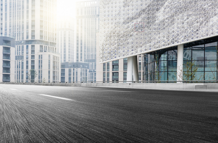 road surface: City building street scene and road surface Stock Photo