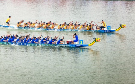 boat race: In June 11, 2013, a dragon boat race was underway in Jiangyin, Jiangsu Province, China. The dragon boat race is a traditional sport in China, which is generally held in the Chinese lunar calendar.