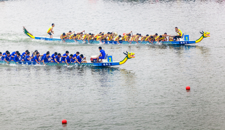 In June 11, 2013, a dragon boat race was underway in Jiangyin, Jiangsu Province, China. The dragon boat race is a traditional sport in China, which is generally held in the Chinese lunar calendar. Redakční