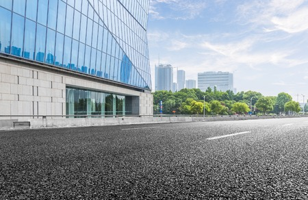 City building street scene and road surface 新聞圖片