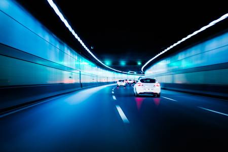 Blurry chromatic color tunnel car traffic motion blur. Motion blur visualizies the speed and dynamics.