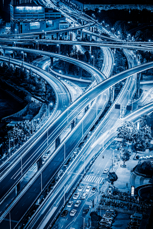 traffic building: Aerial View of Shanghai overpass at Night in China.