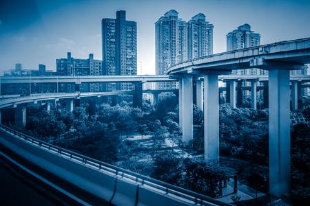 overpass: View of Shanghai overpass,China.
