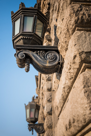 detail shot of antique Street lamp in city of China.