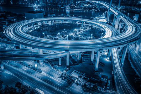 overpass: Aerial View of Shanghai overpass at Night Editorial