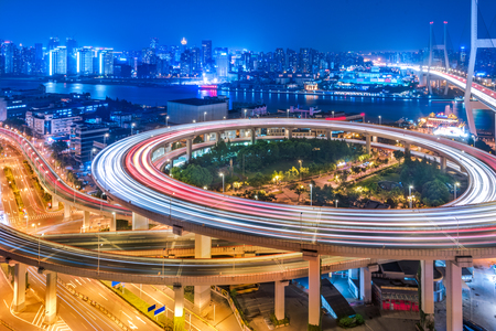 Aerial View of Shanghai overpass at Night. Stock Photo