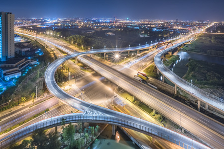 Aerial View of Shanghai overpass at Night Stock Photo