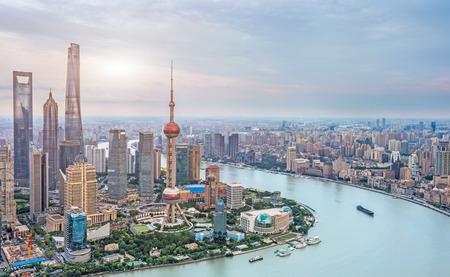 Aerial view of Shanghai skyline of China. 免版税图像