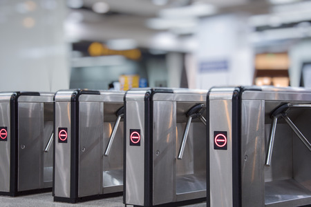 Ticket barriers at subway entrance in Shanghai,China.