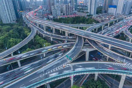 High-angle view of Shanghai Highway with skyscrapers in background. Stock Photo