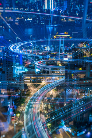 night view of urban traffic with cityscape in Shanghai,China. Banque d'images