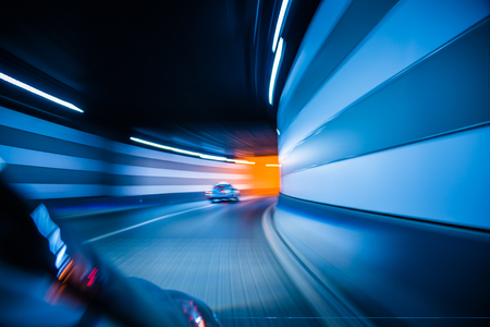 Traffic in a tunnel in city of China. Stock Photo