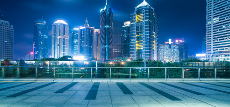 footbridge with cityscape at night in Shanghai,China. Editorial