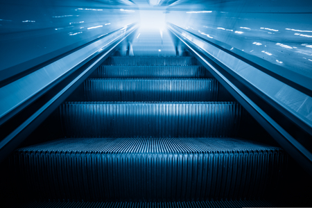 Escalator in an underground station of Shanghai,China. Imagens