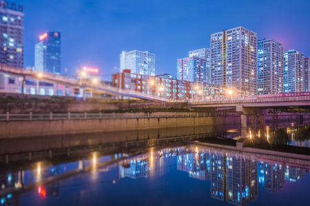 Downtown City skyline along the River in Beijing,China. Stock Photo