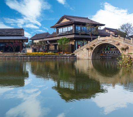 北京、中国の古米水町からの眺め。 写真素材