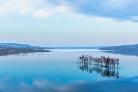 panoramic view of river in natural park of Xuyu,Jiangsu province,China.