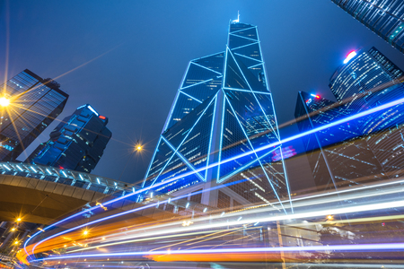 Traffic light trails in downtown of Shenzhen,China. Banque d'images