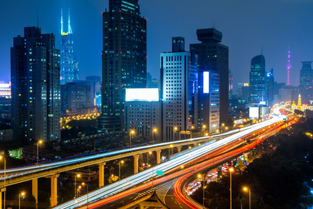 Shanghai overpass at night in China.