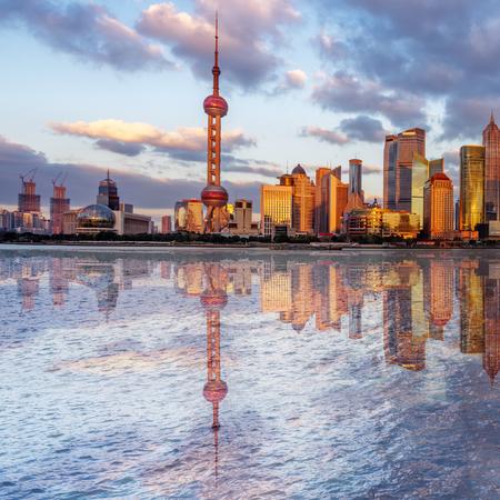 huangpu: landmarks of Shanghai with Huangpu river in China.
