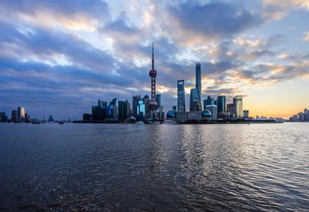 huangpu: Shanghai skyline,landmarks of Shanghai with Huangpu river in China.