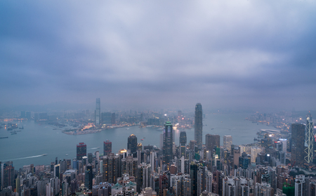 public housing: aerial view of Hong Kong apartment block in China.