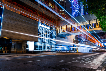 urban traffic with cityscape in Hong Kong,China. Stock Photo - 74667075