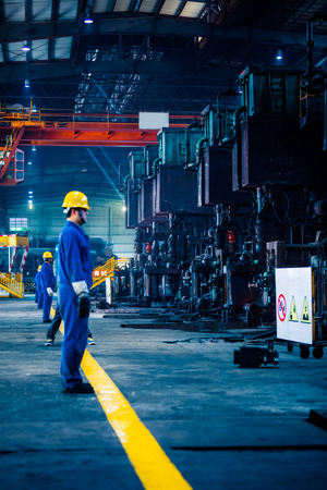 interior view of a steel factory,steel industry in city of China. Editorial
