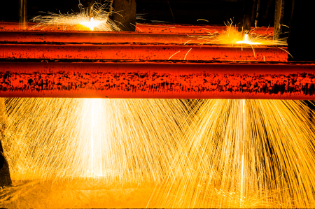 interior view of a steel factory,steel industry in city of China. Banque d'images