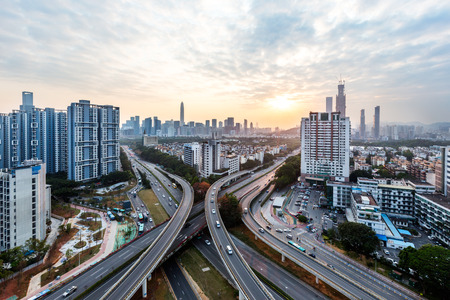 urban traffic with cityscape in modern city of China. Stock Photo - 74808289