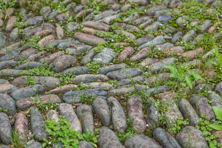 Tiro lleno del marco del pavimento del guijarro en Lishui, provincia de Zhejiang, China.