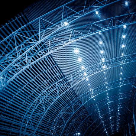 Low angle view of building ceiling in railway station.