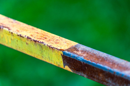 detail shot of old iron railing against green background.