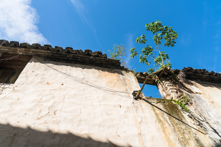 roof of historic building against blue sky,shot in Lishui,China.