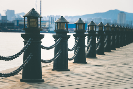 detail shot of bollards in row along riverside,shot in Dalian,China.