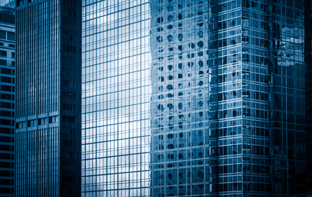 building feature: detail shot of modern architecture facade,business concepts in blue tone,shot in city of China. Stock Photo