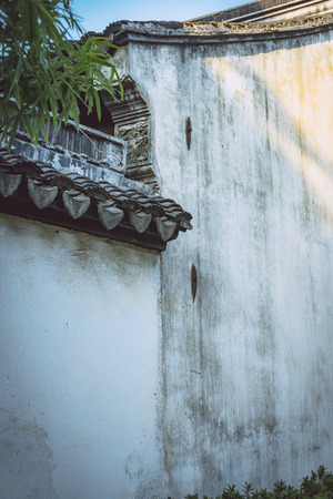 detail shot of stone wall in an old traditional village of China.