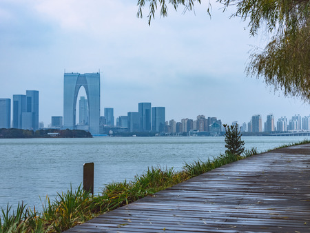 lake district: The Gate of the Orient by the Jinji Lake in Suzhou,China.