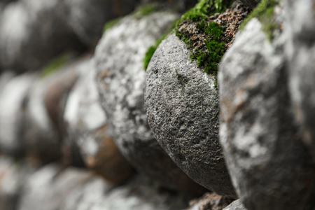 Full Frame Shot Of Pebble Wall in Lishui,Zhejiang province,China.